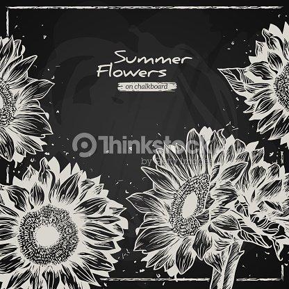 Stylish Floral Background Hand Drawn Retro Sunflowers Vector Art