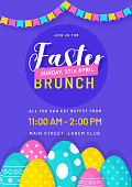 Stylish invitation card design with illustration of colorful eggs and bunting decoration on purple background with time, date and event details.