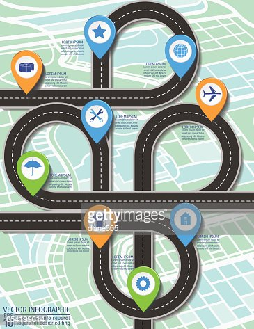 Stylish Roads Timeline Infographic On A City Map Background Vector ...