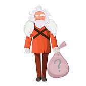 Secret Santa party concept. Old man with bag isolated on white background.