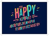 Vector of colorful stylized font and alphabet