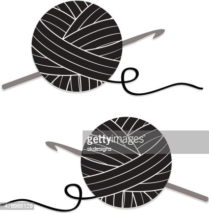 Stylized Ball Of Yarn And Crochet Hook Icon Vector Art Getty Images