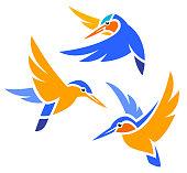 Stylized Birds - Kingfishers in flight