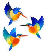 Stylized Birds - White-bellied Kingfisher, Malagasy Kingfisher and Malachite Kingfisher in flight