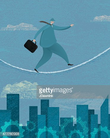 Stylized businessman walking a tightrope : Vector Art