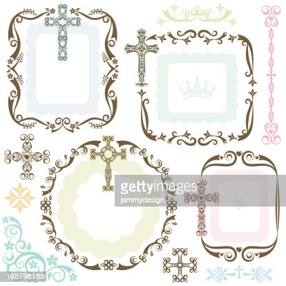 stylized cross frames vector art