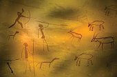 Abstract primitive art - stylized drawing of prehistoric hunters and animals. Vector illustration.