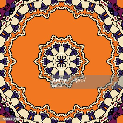 Stylized frame border. Ornamental round lace pattern. Delicate circle : Vector Art