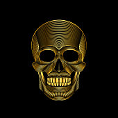 Graphic print of stylized golden skull on black background. Linear drawing.