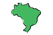 Stylized green sketch map of Brazil on white background illustration vector