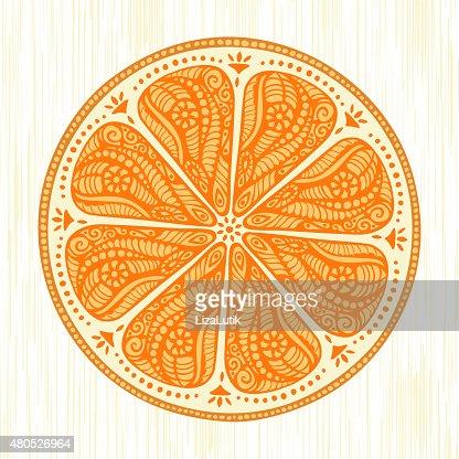 Stylized Hand Drawn Orange Illustration : Vektorgrafik