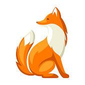 Stylized illustration of fox. Woodland forest animal on white background.