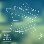 Stylized map of France. map concept