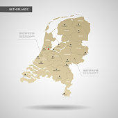 Stylized vector Netherlands map.  Infographic 3d gold map illustration with cities, borders, capital, administrative divisions and pointer marks, shadow; gradient background.