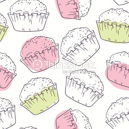 Stilizzato Sagoma Seamless Pattern Con Muffin Arte