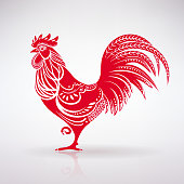 stylized red rooster on a light background