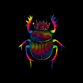Graphic print of stylized scarab in spectrum colors on black background. Linear drawing.