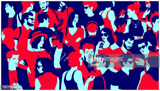 Stylized silhouette of crowd of people mixed group hanging out, chatting and drinking minimal flat design vector illustration : Vector Art
