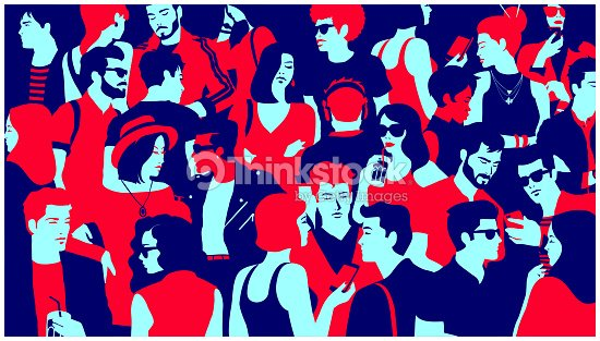 Stylized silhouette of crowd of people mixed group hanging out, chatting and drinking minimal flat design vector illustration : stock vector