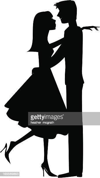 Stylized silhouette picture of a couple embracing