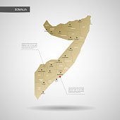 Stylized vector Somalia map.  Infographic 3d gold map illustration with cities, borders, capital, administrative divisions and pointer marks, shadow; gradient background.