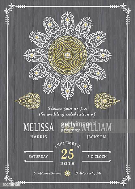 Stylized Sunflower on Wood Invitation