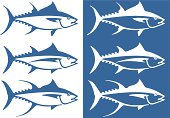 Stylized tuna in clean vector style. Three species (from top to bottom): bluefin tuna, albacore tuna, yellowfin tuna.