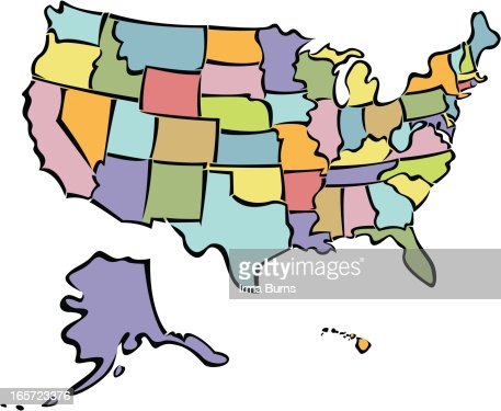 Usa Map With All States Vector Art Getty Images - Map of us cartoon
