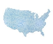 Stylized mainland USA map vector illustration in blue color, abstract pixelated dot pattern.