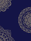Stylized with henna tattoos color decorative pattern for decorating covers for book, notebook, casket, magazine, postcard and folder. Flower pattern in mehndi style. Frame in the eastern tradition. Ma
