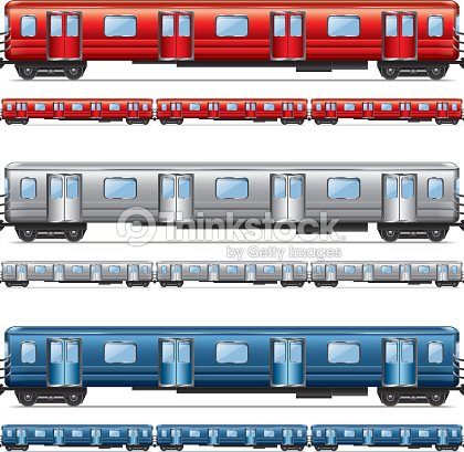 Subway Train Set Isolated On White Vector Vector Art ...