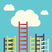 Success ladder leading to cloud and many short ones. Business, goal, competition, unique, progress, challenge, hope and leadership concept. EPS 8 vector illustration, no transparency
