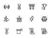 Success line icon set. Winners, leader, award. Celebration concept. Can be used for topics like holiday, congrats, ceremony