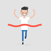 Success. Race winner. Competition concept. Crossing the finish line ribbon. Flat editable vector illustration, clip art