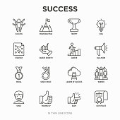 Success thin line icons set: trophy, idea, mountain peak, career, bullhorn, strategy, ladder, winner, medal, award, good choice, easy, certificate. Modern vector illustration.