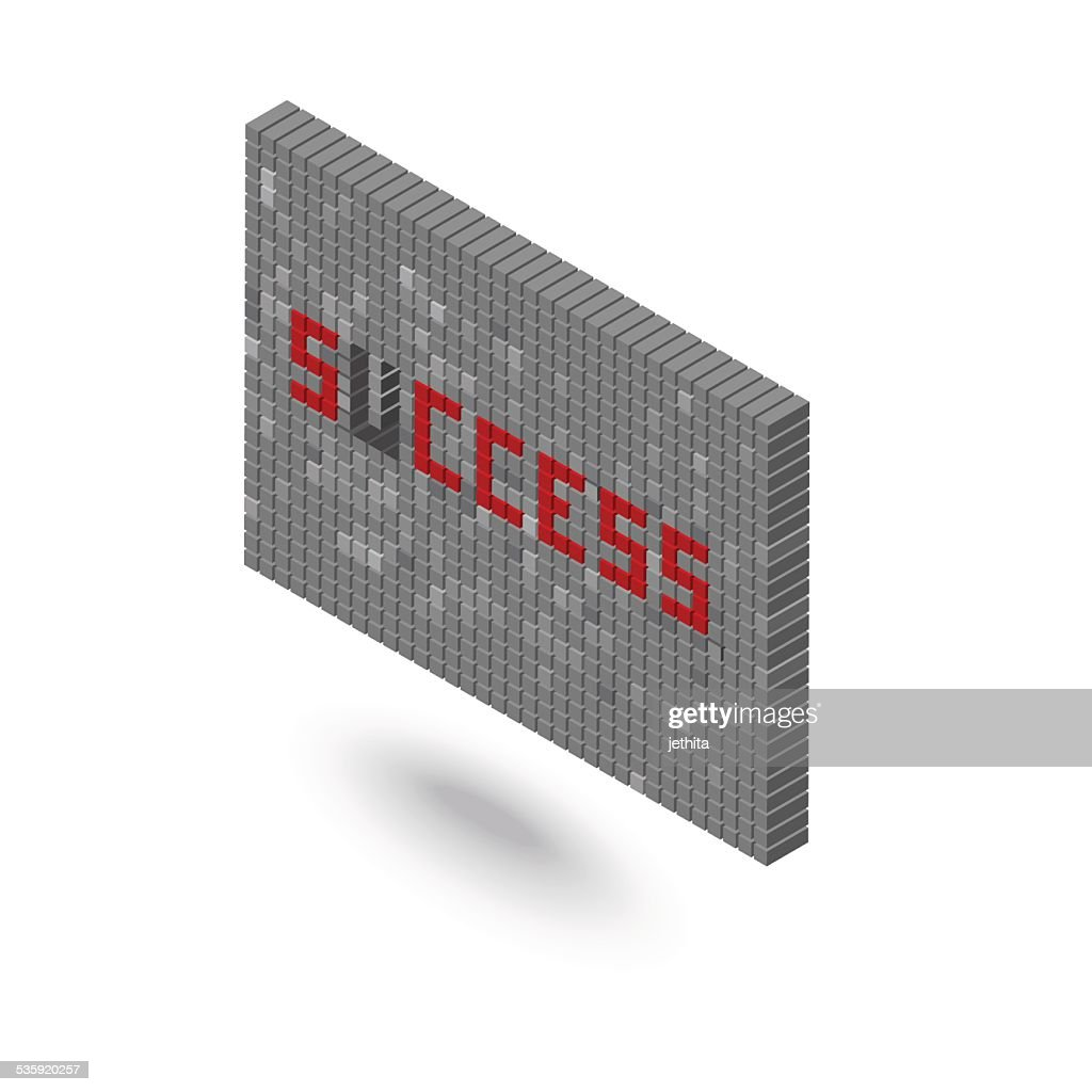success word without U 3D block wall illustration : Vector Art