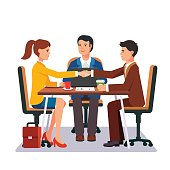 Successful business negotiations. Closed deal handshake over a desk. Flat style vector illustration.