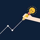 Successful business with creative idea concept flat design, vector illustration