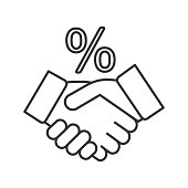 Successful deal linear vector icon. Thin line. Business partnership. Handshake and percent sign