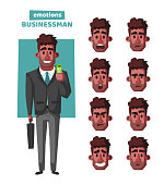 Successful, happy businessman in a suit with umbrella. Cartoon vector illustration. Funny character. Money rain. Big earnings