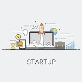 Flat vector illustration. Concept illustration of successfull startup