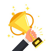 Successful competitive winner holding golden cup in hand. Prize for winning competition achievement, champion success leadership award cartoon colorful vector flat illustration