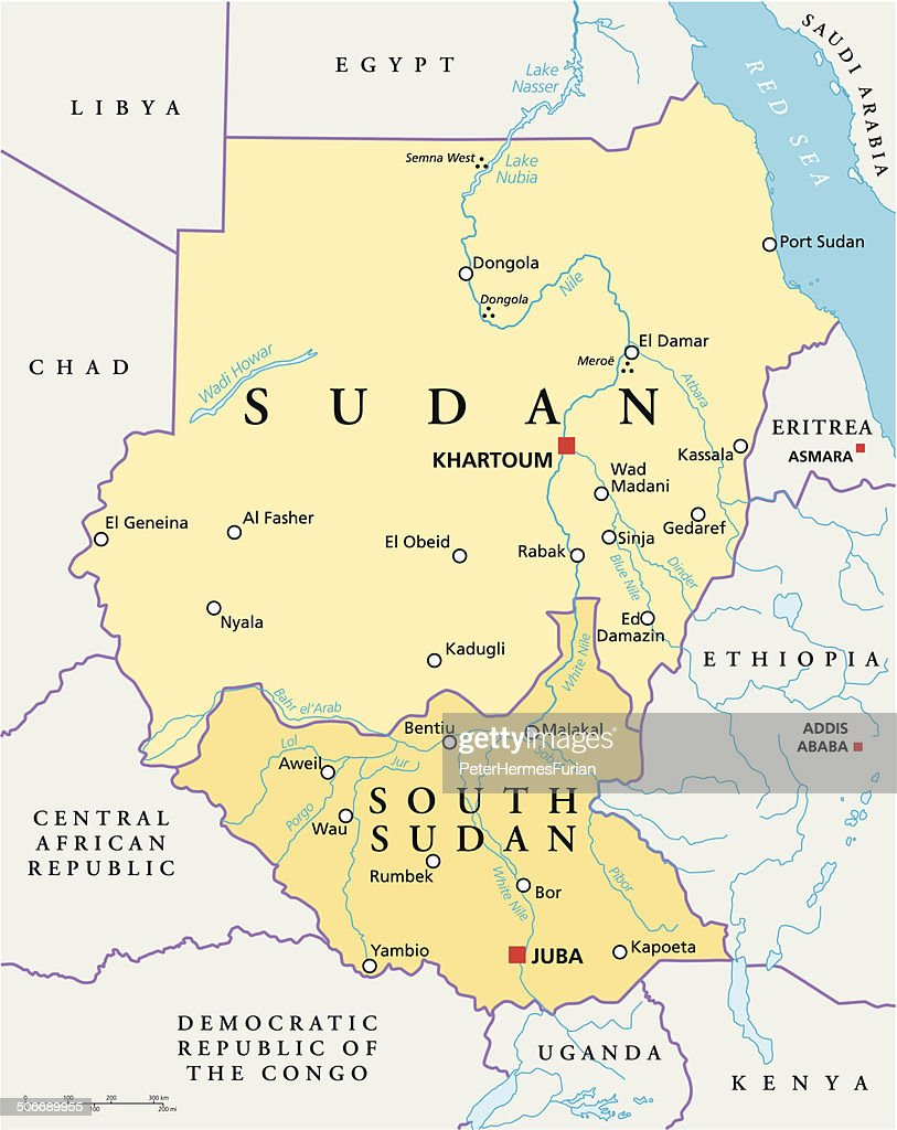Sudan And South Sudan Political Map Vector Art Thinkstock