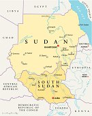 Political map of Sudan and South Sudan with capitals Khartoum and Juba, with national borders, most important cities, rivers and lakes. Vector illustration with English labeling and scaling.