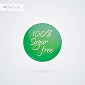 100% Sugar free label. Food icon. Vector green and white diabetic sticker sign isolated. Illustration symbol for product, packaging, healthy eating, lifestyle, healthcare, diabetes, shop, merchandise