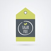 Sugar Free label. Food icon. Vector green white and gray shopping tag sign isolated. Illustration symbol for product, packaging, healthy eating, lifestyle, diabetic, merchandise, shop, menu