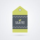 Sugar Free label. Food icon. Vector green white and gray shopping tag sign isolated. Illustration symbol for product, packaging, healthy eating, lifestyle, diabetic, merchandise, shop, menu, store
