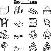 Sugar icon set in thin line style
