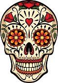 Vector illustration of an ornately decorated Day of the Dead sugar skull, or calavera. Illustration uses no gradients, meshes or blends, only solid color.  Includes both AI10-compatible .eps format an