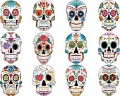 Set of colorful sugar skulls for Day of the Dead.